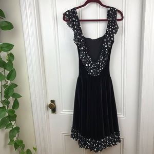 Vintage black midi velvet polka dot ruffle dress
